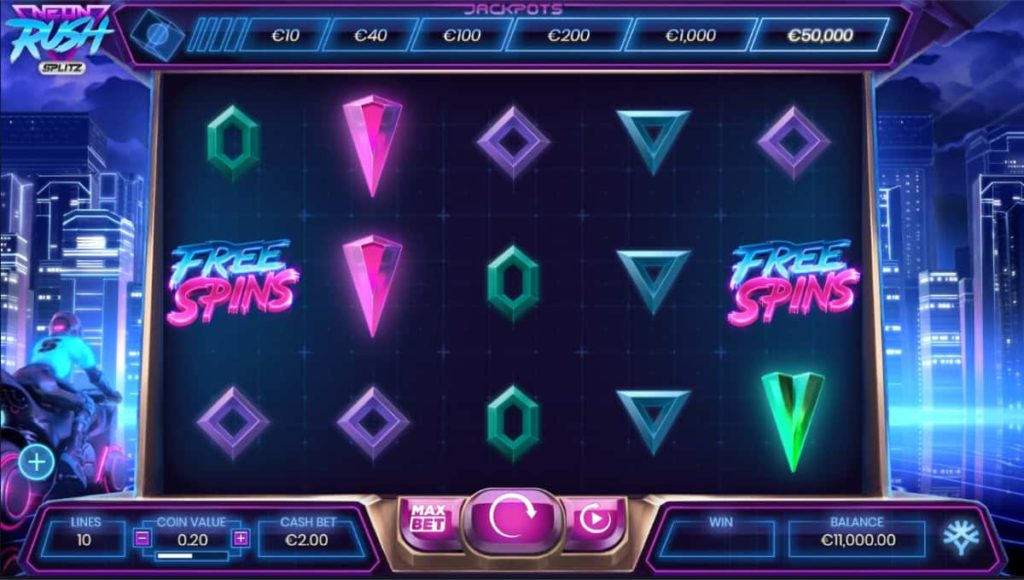 Play Free Neon Rush Splitz Slot