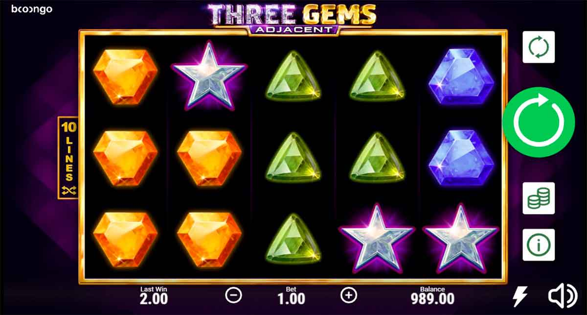 Play Free Three Gems Adjacent Slot